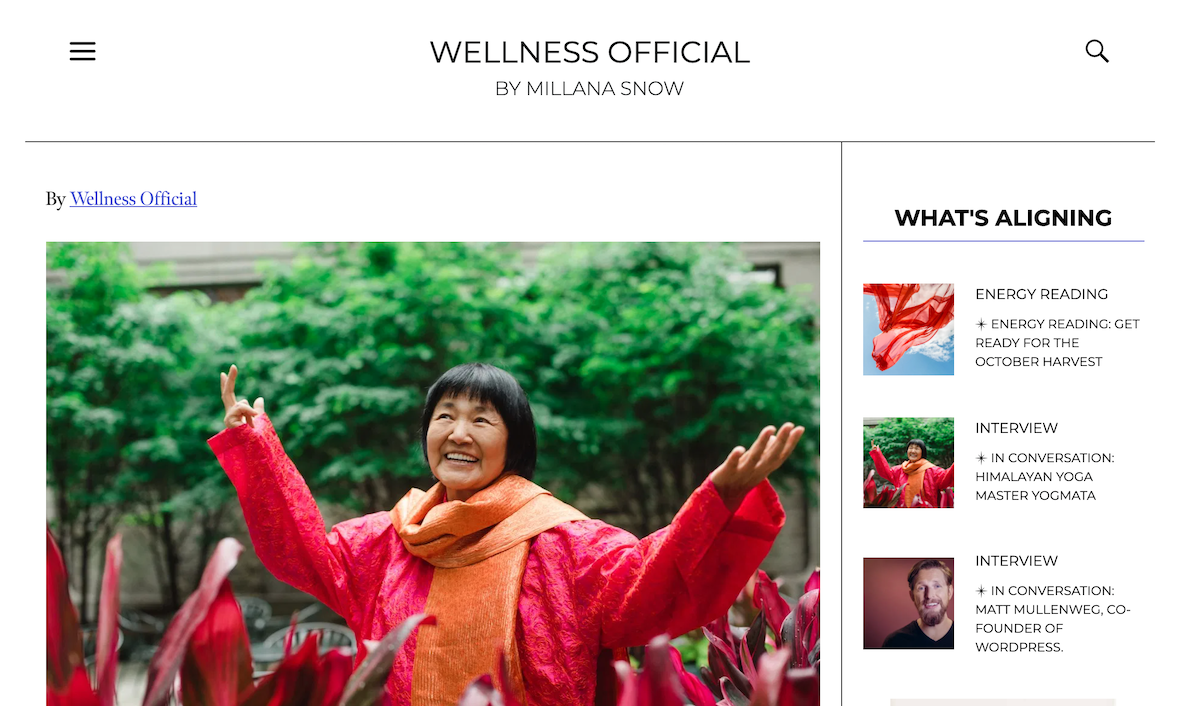 "Yogmata was introduced on the online magazine ""Wellness Official"" on October 1st"