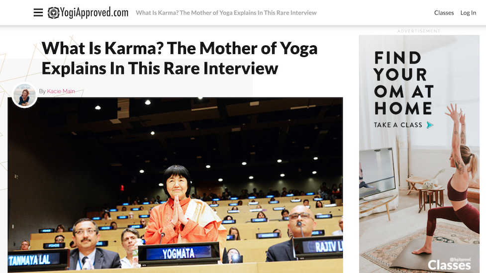"Yogmata was introduced on the online magazine ""YogiApproved.com"" on August 8th In this interview, Yogmata explains what karma is."